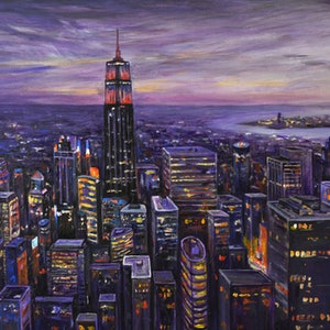(CreativeWork) Midtown by Tony Wu. arcylic-painting. Shop online at Bluethumb.