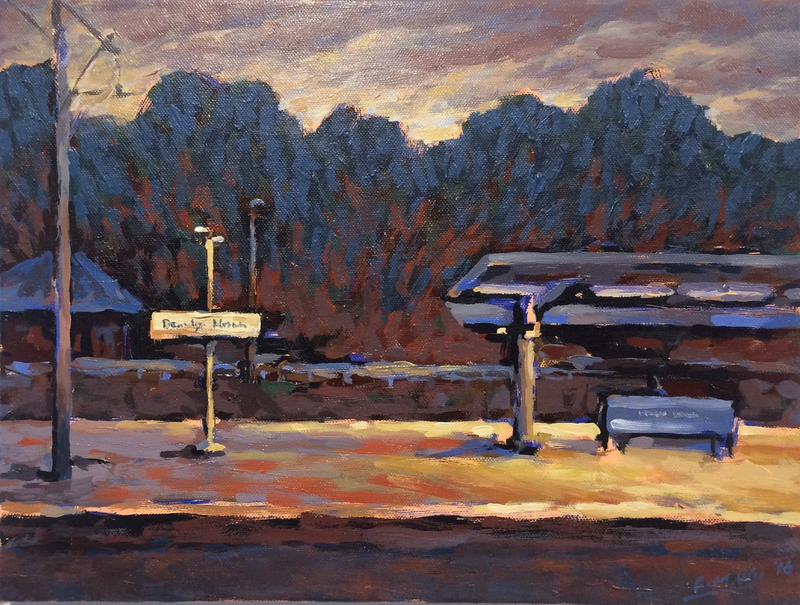 (CreativeWork) The train station before dark by Fangmin Wu. Acrylic Paint. Shop online at Bluethumb.