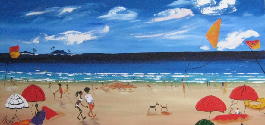 (CreativeWork) XL abstract  funky beach people surf  by Lynne ( Dorothy Lynne) Pickering. Acrylic Paint. Shop online at Bluethumb.