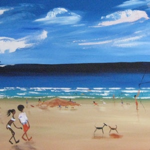(CreativeWork) XL abstract  funky beach people surf  by Lynne ( Dorothy Lynne) Pickering. arcylic-painting. Shop online at Bluethumb.