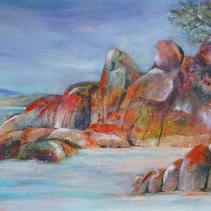 (CreativeWork) Lichen and granite seascape by Vicki Reid. arcylic-painting. Shop online at Bluethumb.