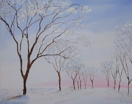 (CreativeWork) Winter Glory 1 by Chris Stefanis. oil-painting. Shop online at Bluethumb.