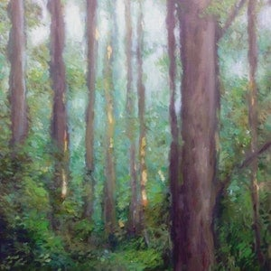 (CreativeWork) FOREST PATH by Corey Brooks. oil-painting. Shop online at Bluethumb.