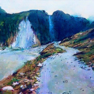 (CreativeWork) PATH TO FOX GLACIER by Corey Brooks. acrylic-painting. Shop online at Bluethumb.