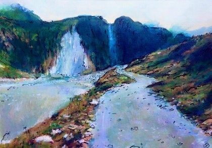 (CreativeWork) PATH TO FOX GLACIER by Corey Brooks. arcylic-painting. Shop online at Bluethumb.