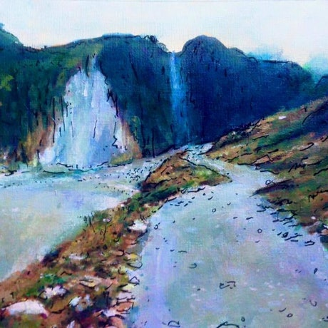 (CreativeWork) PATH TO FOX GLACIER by Corey Brooks. Acrylic Paint. Shop online at Bluethumb.