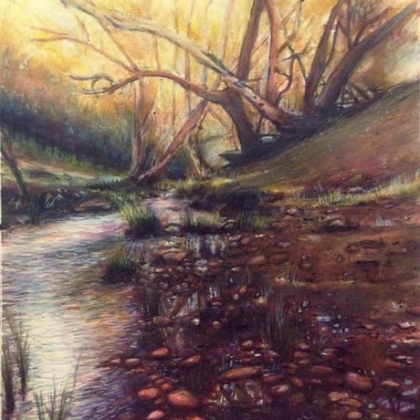 (CreativeWork) BUSH STREAM by Corey Brooks. Mixed Media. Shop online at Bluethumb.