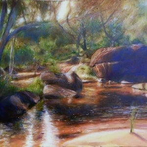 (CreativeWork) POOLING CREEK by Corey Brooks. oil-painting. Shop online at Bluethumb.