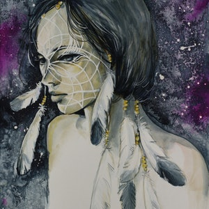 (CreativeWork) Let Me Catch Your Dreams by Sara Riches. mixed-media. Shop online at Bluethumb.