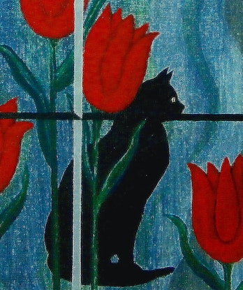 (CreativeWork) CAT RENDEZVOUS by Lisa Dangerfield. Acrylic Paint. Shop online at Bluethumb.