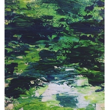 (CreativeWork) Waves of Green by Yunn Ru Soo. Oil Paint. Shop online at Bluethumb.