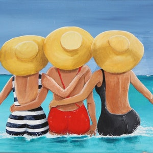 (CreativeWork) Beach Buddies by Andrea Berry. arcylic-painting. Shop online at Bluethumb.