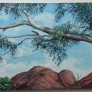 (CreativeWork) BRANCHING OUT OVER KATA TJUTA by Margaret HADFIELD. Oil Paint. Shop online at Bluethumb.