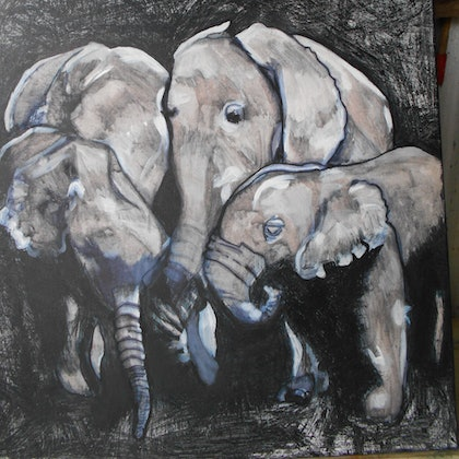 (CreativeWork) We are family by Lisa Maree Nixon. arcylic-painting. Shop online at Bluethumb.