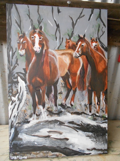 (CreativeWork) A fine bunch of chestnuts! by Lisa Maree Nixon. mixed-media. Shop online at Bluethumb.