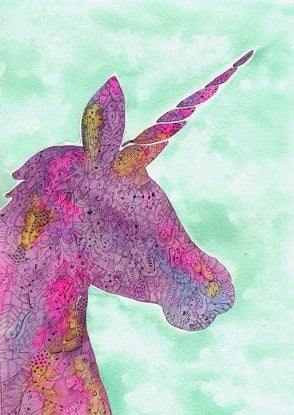 (CreativeWork) Pink and Purple Unicorn by Mishy Rowan. Watercolour Paint. Shop online at Bluethumb.
