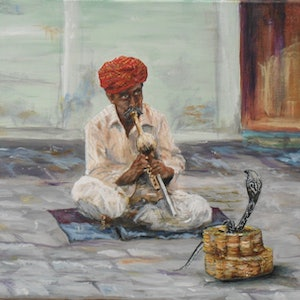 (CreativeWork) Snake charmer  by Hesh Fernando. arcylic-painting. Shop online at Bluethumb.