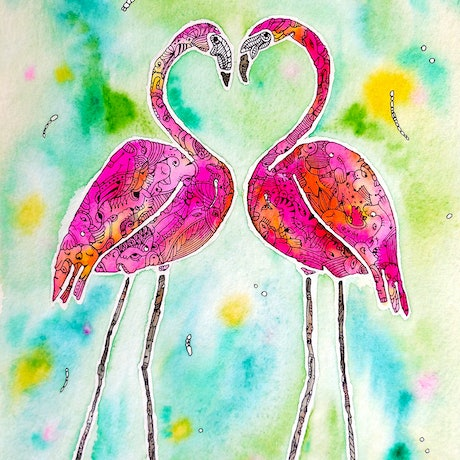 (CreativeWork) Pink Flamingo Love Birds by Mishy Rowan. Watercolour Paint. Shop online at Bluethumb.