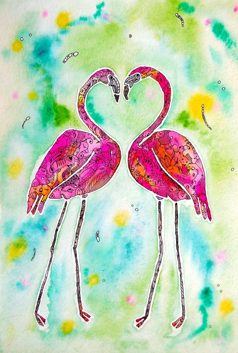 (CreativeWork) Pink Flamingo Love Birds by Mishy Rowan. watercolour. Shop online at Bluethumb.