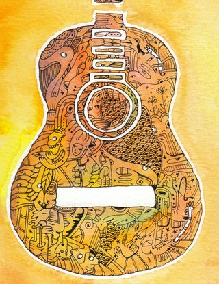(CreativeWork) Guitar - Play Me by Mishy Rowan. #<Filter:0x00007f0660b59498>. Shop online at Bluethumb.