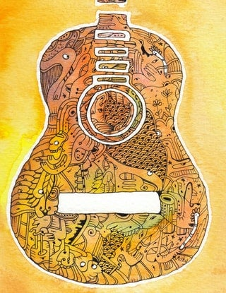(CreativeWork) Guitar - Play Me by Mishy Rowan. Watercolour Paint. Shop online at Bluethumb.