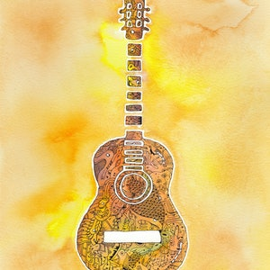 (CreativeWork) Guitar - Play Me by Mishy Rowan. watercolour. Shop online at Bluethumb.