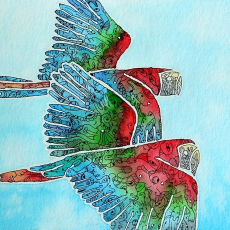 (CreativeWork) Parrot - Flying Free by Mishy Rowan. Watercolour. Shop online at Bluethumb.