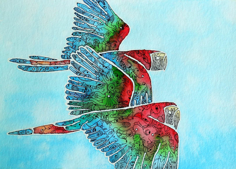 (CreativeWork) Parrot - Flying Free by Mishy Rowan. Watercolour Paint. Shop online at Bluethumb.