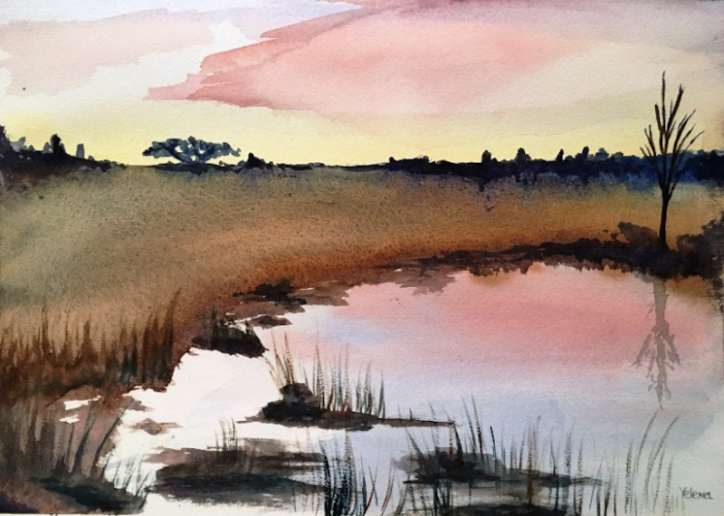 (CreativeWork) Tranquil Billabong by Yelena G. watercolour. Shop online at Bluethumb.