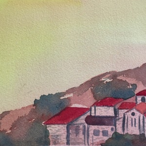 (CreativeWork) Assisi Hill by Yelena G. watercolour. Shop online at Bluethumb.