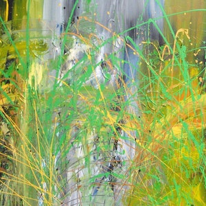 (CreativeWork) Original Art Abstract  I See Green Home Decor Lynne Pickering by Lynne ( Dorothy Lynne) Pickering. arcylic-painting. Shop online at Bluethumb.