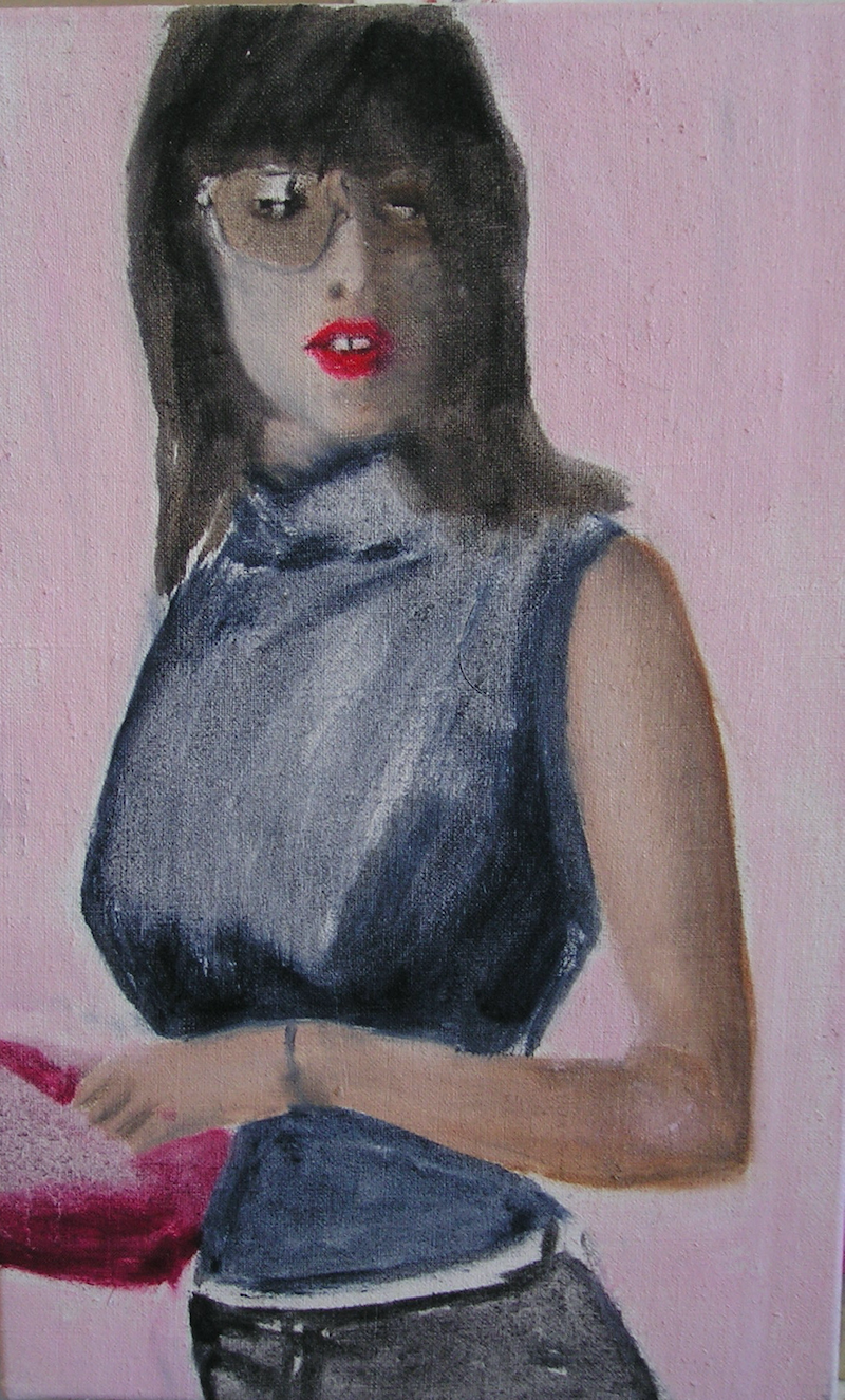 (CreativeWork) BECK WITH PINK POUCH by Josh Honeyman. oil-painting. Shop online at Bluethumb.