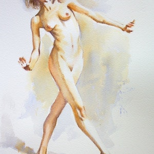 "(CreativeWork) ""On Her Toes"" by Pauline Adair. watercolour. Shop online at Bluethumb."
