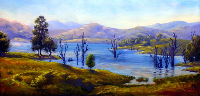 "(CreativeWork) An original oil painting ""An afternoon at Lake St Claire"" by Christopher Vidal. oil-painting. Shop online at Bluethumb."