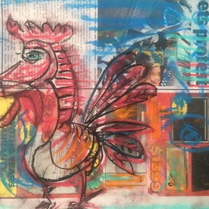 (CreativeWork) PABLOS ROOSTER by Gregory Charles. drawing. Shop online at Bluethumb.