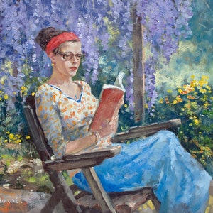 (CreativeWork) Reading Beside the Wisteria by Robert Todonai. oil-painting. Shop online at Bluethumb.