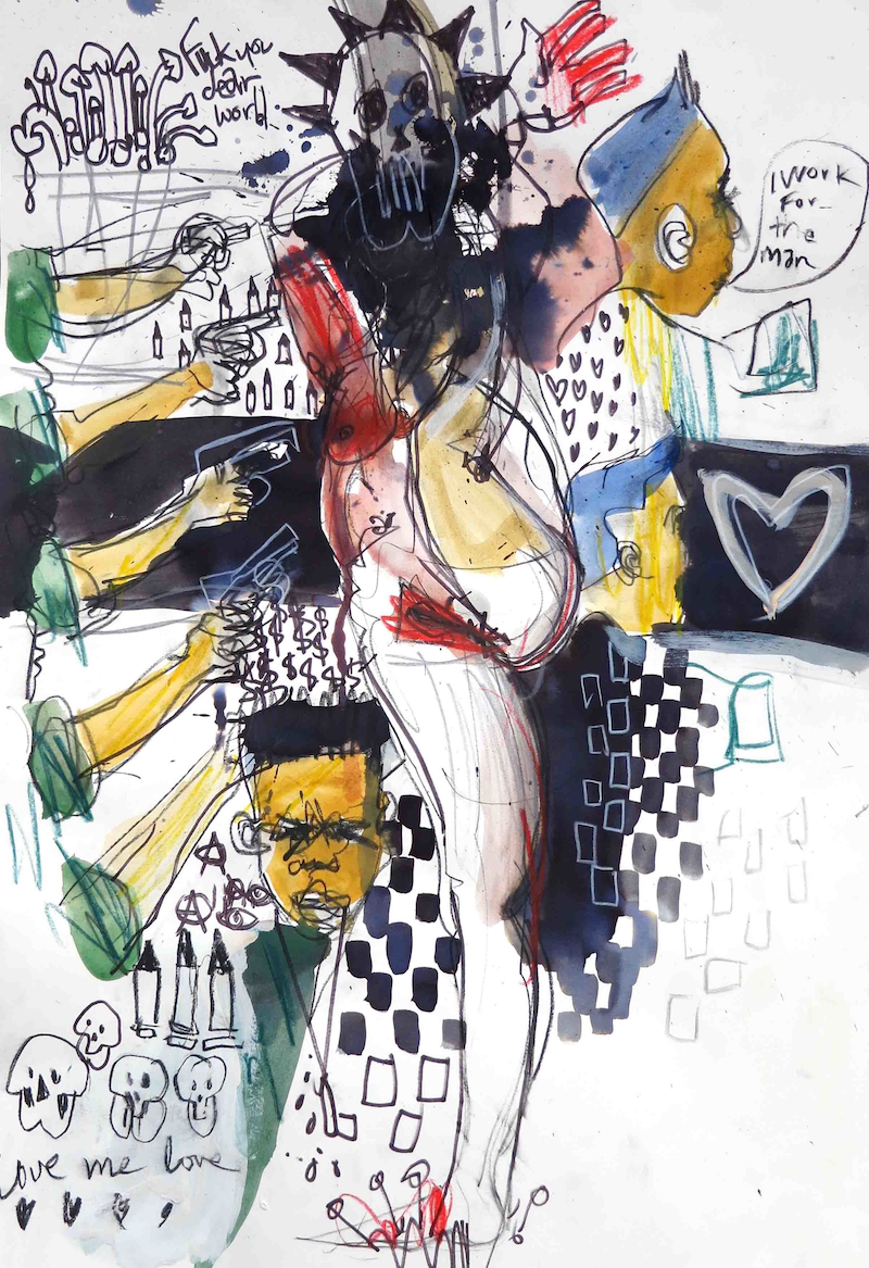 (CreativeWork) Working for the man  by John Graham. Mixed Media. Shop online at Bluethumb.