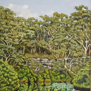 (CreativeWork) Opposing Bank: Lane Cove River by David Foster. arcylic-painting. Shop online at Bluethumb.