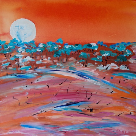 (CreativeWork) Super moon over outback by Laurie Jean Cochrane. Mixed Media. Shop online at Bluethumb.