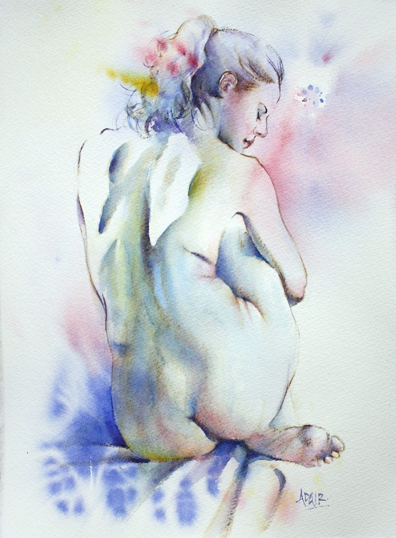 "(CreativeWork) ""Nothing But the Girl"" by Pauline Adair. watercolour. Shop online at Bluethumb."