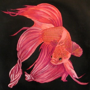 (CreativeWork) Fighting Fish 1 Red by Julie-Anne Gatehouse. arcylic-painting. Shop online at Bluethumb.