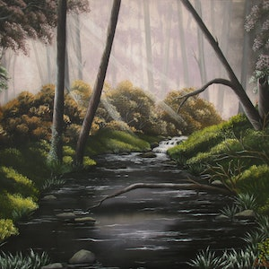 (CreativeWork) DEEP IN THE FOREST by Debra Dickson. arcylic-painting. Shop online at Bluethumb.