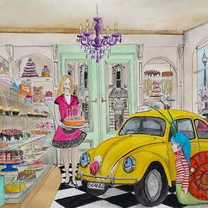 (CreativeWork) Taxi Bug in Cake Shop by Chelle Destefano. watercolour. Shop online at Bluethumb.