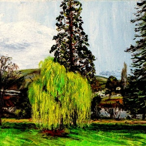 (CreativeWork) The Willow Tree by Raymond Wittenberg. oil-painting. Shop online at Bluethumb.