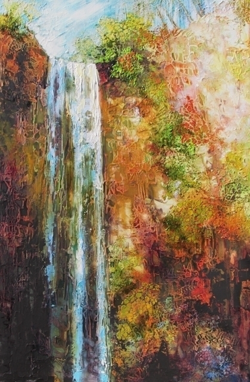 (CreativeWork) Queen Mary Falls by De Gillett Cox. arcylic-painting. Shop online at Bluethumb.