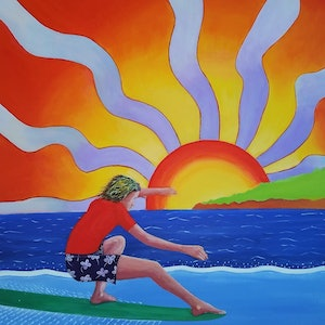 (CreativeWork) Super Sunrise by Ronny Silcock. arcylic-painting. Shop online at Bluethumb.