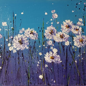 (CreativeWork) Daisy Dance by Helen Miles. arcylic-painting. Shop online at Bluethumb.
