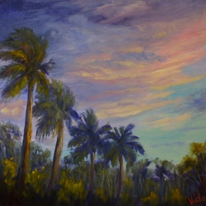 (CreativeWork) Tropical skies by Christopher Vidal. oil-painting. Shop online at Bluethumb.