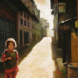 (CreativeWork) Bhaktapur by Glen Vause. oil-painting. Shop online at Bluethumb.
