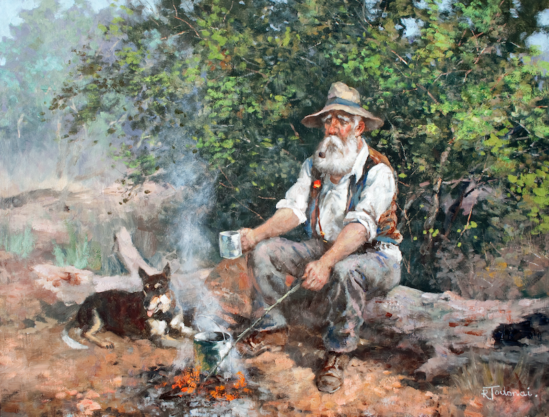 (CreativeWork) Old Mates by Robert Todonai. oil-painting. Shop online at Bluethumb.